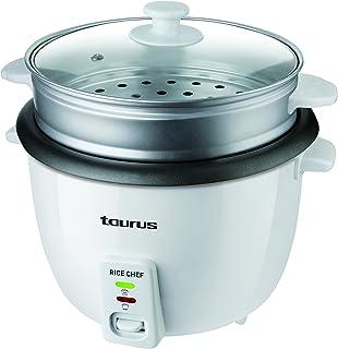 Taurus Rice Chef - Cuiseur à riz 700W, Capacité 1,8L, Revêtement anti-adhérent, Fonction cuisson et maintien au chaud, Acc...
