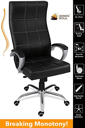 Green Soul Ace High Back Leatherette Office Chair (Black)
