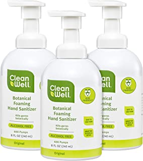 CleanWell Botanical Foaming Hand Sanitizer, Original, 8 fl oz (3 PK) - Alcohol Free, Antibacterial, Kid Friendly, Plant-Based, Nontoxic, Cruelty Free, Moisturizing Formula, Pump Bottle