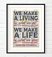 We Make a Living by What We Wet, We Make a Life by What We Give - Winston Churchill Quote Art Print, Unframed, Vintage Highlighted Dictionary Page Wall Art Decor Poster Sign, 8x10 Inches