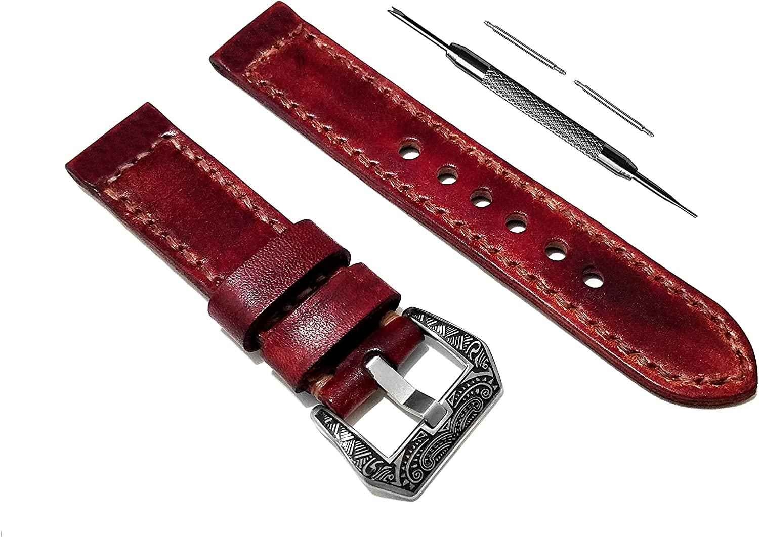 NICKSTON Burgundy Brushed Genuine Strap Compatible with Ranking TOP14 Max 71% OFF Leather