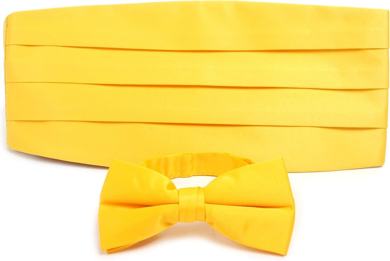 Yellow Men's Poly Satin Tuxedo Bowtie and Cummerbund Set