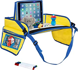 Kids Travel Tray- Comes with Dry Erase Board and Markers- iPad/Tablet Holder- Snack, Play and Stay Organized by Car Seat or Plane, (Blue/Yellow)- by Made Simple