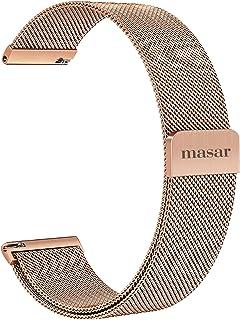 Masar 18 à 22mm Magnétique Universel Libération Rapide Bracelet de Montre en Maille Milanaise - 4 Barrettes à Ressort