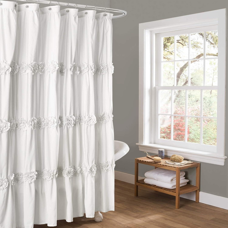 x 72 Blush Darla Ruched Floral Bathroom Shower Curtain Lush Decor