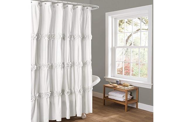 Incroyable Lush Decor Darla Ruched Floral Bathroom Shower Curtain, 72u201d X 72u201d, White
