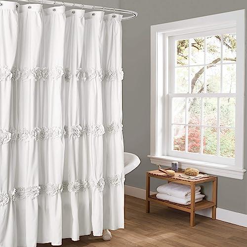 Lush Decor Darla Ruched Floral Bathroom Shower Curtain 72 X White