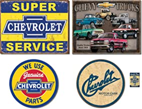 Bundle: Chevy Tin Sign Set - Super Chevy Service, Chevy Truck Tribute, Chevy Round Genuine Parts and Chevy Historic Logo. Plus Chevy Pistons Magnet.