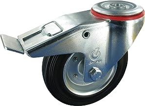 Zwenkwiel met rem wiel 100 mm massief rubber rollager draagvermogen: 70 kg