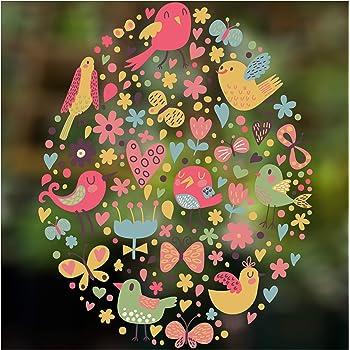 Amosfun Autocollant Mural pour fen/être de P/âques Motif Papillon D/écoration Murale pour Chambre denfant Motif Lapin