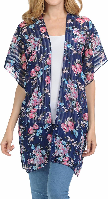 Basico Women's Plus Size Open Asymmetrical Hem Chiffon Vest Cardigan Cover up (One Size, Cardigan # Glam Navy)