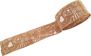 Burlap Wired Ribbon with Wedding Print- Natural Jute Fabric Wedding Ribbon Roll for Decorations and Gift Wrap - 10 Yards Long, 2.5 Inches Wide