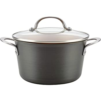 Ayesha Curry Home Collection Hard Anodized Nonstick Sauce Pan/Saucepan with Lid, 4.5 Quart, Gray
