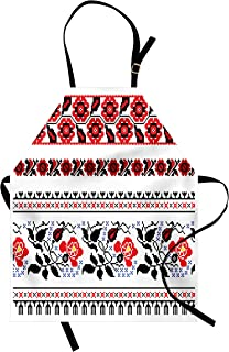 Lunarable Ukrainian Apron, Russian Rushnik Floral Arrangement Eastern European Folklore Ornaments, Unisex Kitchen Bib with Adjustable Neck for Cooking Gardening, Adult Size, Blue Black