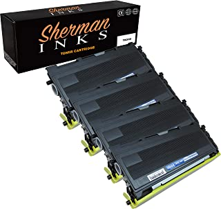 Sherman 4 Pack Black Compatible Toner Cartridge Replacement For Printer Model Brother TN350 DCP-7010 DCP-7020 HL-2030 HL-2040 HL-2070N Intellifax 2820 2920 MFC-7220 MFC-7225N MFC-7420 MFC-7820N High Y