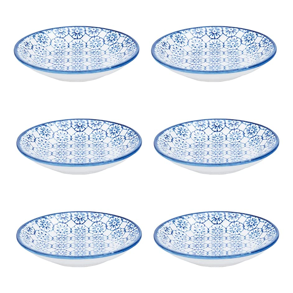 Nicola Spring Patterned Dipping Dishes - Small Bowls for Rice, Soy Sauce & Olive Oil, 101mm - Blue Flower - Set of 6