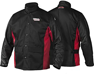 Lincoln Electric Grain Leather Sleeved Welding Jacket | Premium Flame Resistant Cotton Body | Black & Red | Large | K2987-L