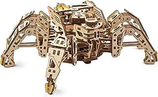 UGEARS Hexapod Explorer 3D-pussel – mekaniska spindelrobotmodellsatser för vuxna med kraftfull fjädermotor – 3D-träpussel ...