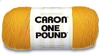 Caron 29401010549 One Pound Solids Yarn, 16oz, Gauge 4 Medium, 100% Acrylic - Sunflower- For Crochet, Knitting & Crafting...