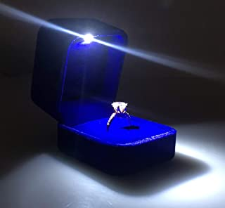 Omeet Mini Size Metal Glossy with LED Jewelry Gift Box - Easy to fit into Your Pocket or Handbag - Increase The Height, More Suitable for Diamond Rings, Gemstone Rings