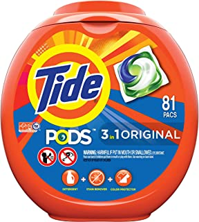PODS 3 in 1 HE Turbo Laundry Detergent Pacs, Original Scent, 81 Count Tub, Packaging May Vary