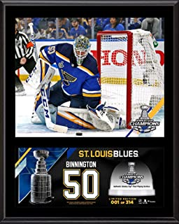 Jordan Binnington St. Louis Blues 2019 Stanley Cup Champions 12'' x 15'' Sublimated Plaque with Game-Used Ice from the 2019 Stanley Cup Final - Limited Edition of 314 - Fanatics Authentic Certified