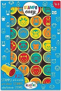 Aladine - Stampo Easy Têtes d'Animaux - Kit de Tampons Pré-encrés Couleur - Jouets et Jeux Créatifs - Boîte de 28 Tampons ...