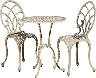 Christopher Knight Home 232162 Andover Outdoor 3pc Cast Aluminum Bistro Set, Sandy Off-White