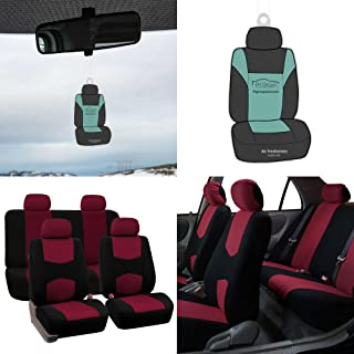 FH Group Stylish Cloth Full Set Car Seat Covers w. Air Freshener, Burgundy/Black Color- Fit Most Car, Truck, SUV, or Van