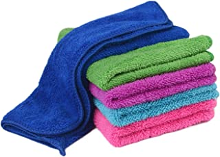 Zelta Kitchen Hand Towel Dish Cleaning Cloth with Hanging Loop, Super Water Absorption Double Deck Coral Fleece Random Color 12 x 16 Inch, 5 Pcs