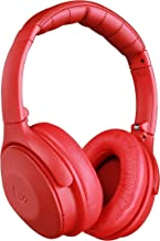 XINWU 800 Active Noise Cancelling Bluetooth Headphone, Stereo Surround Sound w/Soft Protein Earmuff, Built-in Mic, 20h Battery Life Fodable Lightweight Over Ear, PU Leather Cover (Red)