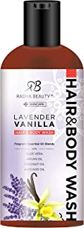 Radha Beauty Moisturizing Hair and Body Wash, 16 oz. - Infused with Aloe Vera, Argan Oil, Coconut Oil and Avocado Oil for Men & Women (Lavender Vanilla)
