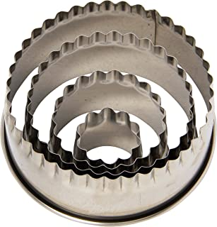 Ateco 1441 Edge Cutters in Graduated Sizes, Stainless Steel, 4 Pc Set, Fluted Round