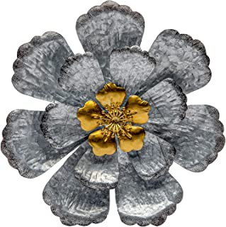 SONGXIN Galvanized Metal Flowers Bathroom Wall Art Metal Silver with Gold Accents Floral Wall Art Decor for Living Room Indoor Outdoor Decor 12.6 Inch