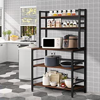 YGBH 5-Tier Kitchen Bakers Rack with Hutch, Coffee Station, Microwave Oven Stand, Utility Storage Rack for Home Office, Ea...