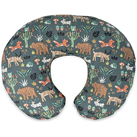 Boppy Original Nursing Pillow & Positioner, Green Forest Animals, Cotton Blend Fabric with Allover Fashion