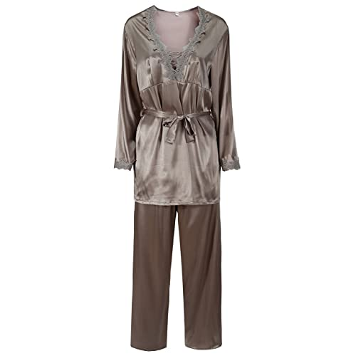 5b5f32dbaf Foucome Women s Long Sleeves Pajama Sets Satin Silk Lace Stitching Pyjamas  with Belt Three Piece Set