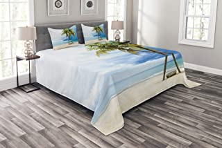Ambesonne Hawaiian Bedspread, Cloudy Sky Boat in The Sea Palm Trees Sandy Beach Thailand Seascape Picture Print, Decorative Quilted 3 Piece Coverlet Set with 2 Pillow Shams, King Size, Green Blue