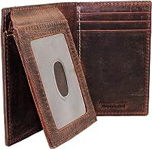 محفظة سلسة ثلاثية الطي RFID للرجال بتصميم Biker Crazy Horse + Hipster Euro L fold NON RFID