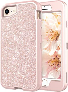Coolwee Glitter Full Protective Case for iPhone 6 iPhone 6S iPhone 7 iPhone 8 Heavy Duty Hybrid 3 in 1 Rugged Shockproof Women Girl Rose Gold for Apple iPhone 6s iPhone 7 iPhone 8 4.7 inch Shiny Bling