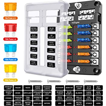 Nilight - 50056L 12 Way Blade Fuse Block 12 Circuits with Negative Bus Fuse Box Holder with LED Indicator ATO/ATC Fuse Panel Waterproof Cover for 12V Automotive Cars Marine Boats RVs Trailers