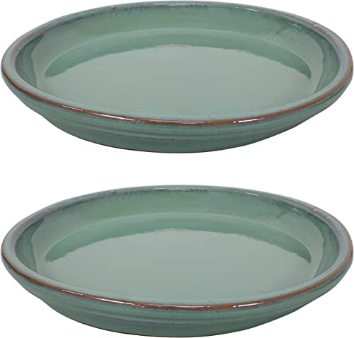 high quality Sunnydaze Ceramic Flower Pot Planter Saucer sale - Set of 2 - High-Fired Glazed UV high quality and Frost-Resistant Finish - Outdoor/Indoor Use - Seafoam - 12-Inch online