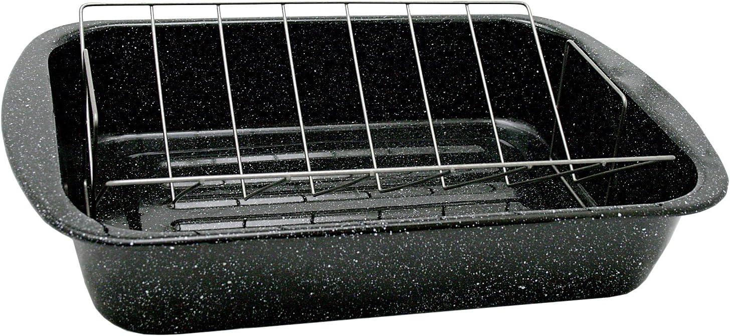 Granite Baltimore Mall Ware Open Rectangle free Roaster Non-Stick V-Rack with 18.5-
