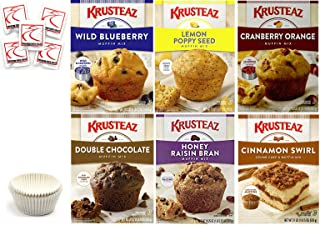Krusteaz Muffin Mix Variety Pack #2 + Baking Liner. Flavors: Cranberry Orange; Blueberry; Lemon Poppy Seed; Double Chocolate; Cinnamon Swirl; Honey Raisin Bran. Bundle of 6 Muffin Mix Care Package