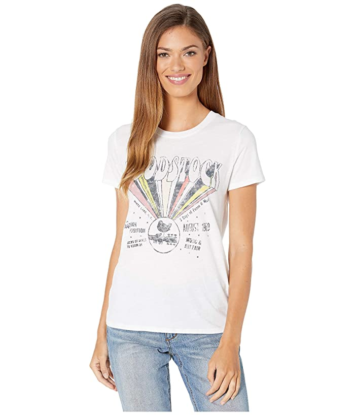 Women's 70s Shirts, Blouses, Hippie Tops Lucky Brand Woodstock Tee Lucky White Womens Clothing $23.70 AT vintagedancer.com