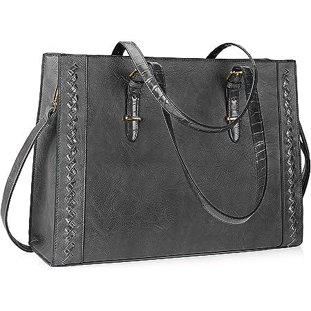 Lubardy Shopper Damen Groß Leder Handtasche Damen Grau 15.6 Zoll Laptop Tasche Umhängetasche Damen für die Arbeit Geschäft Schule Reise