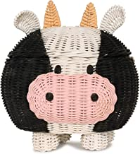 G6 COLLECTION Cow Rattan Storage Basket With Lid Decorative Bin Home Decor Hand Woven Shelf Organizer Cute Handmade Handcr...