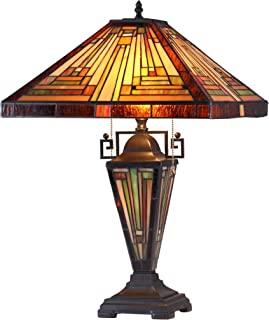 Chloe Lighting CH33359MR16-DT3 Innes Tiffany-Style Mission 3-Light Double Lit Table Lamp with Shade, 24.2 x 16.1 x 16.1