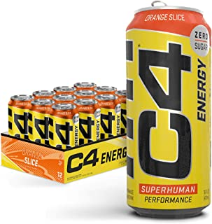 Cellucor C4 Original Carbonated Zero Sugar Energy Drink, Pre Workout Drink + Beta Alanine, Orange Slice, 16 Fl. Oz (Pack o...