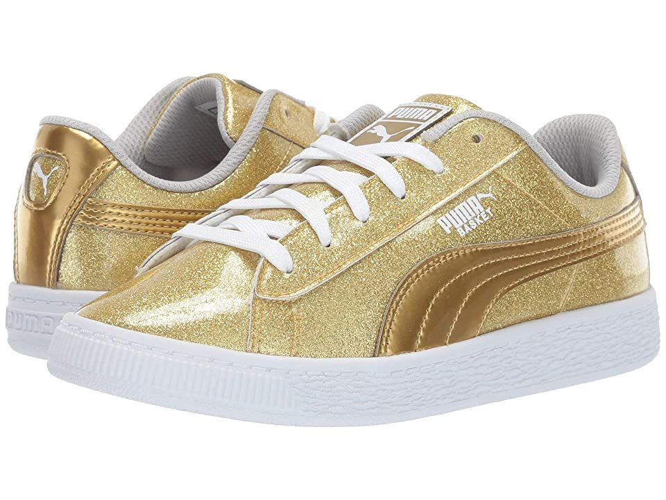 Puma Kids Basket Metallic (Little Kid) (Puma Team Gold/Gray Violet/Puma White) Kids Shoes